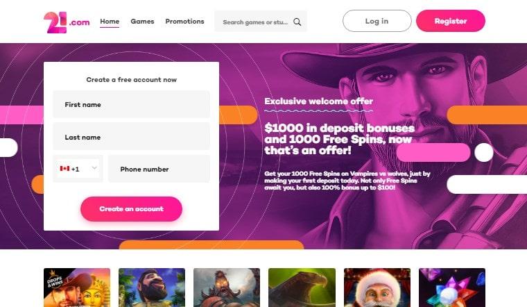 21com Online Casino Homepage