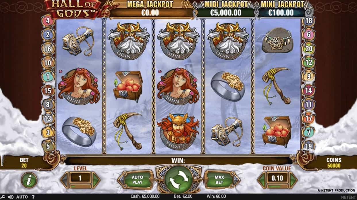 NetEnt Hall of Gods Casino Slot Game